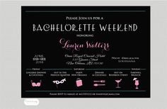Bachelorette Weekend Invitation Weekend Itinerary by Oohlalovely