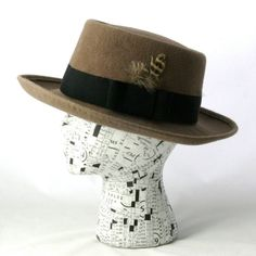 Men's Gray Fawn Porkpie Hat Made to Order by MoeSewCoMillinery, $150.00