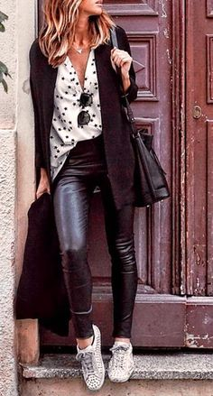 #fall #fashion · Dotted White Shirt + Leather Pants + Sneaker