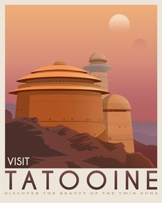 Tatooine poster, Tatooine retro travel, Starwars planet illustration, Sci fi vintage print, Luke skywalker, Landspeeder, Two mons landscape