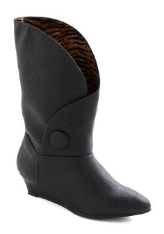 Globetrotting Gal Boot by Bait Footwear - Low, Leather, Faux Leather, Black, Solid, Buttons, Wedge, Casual