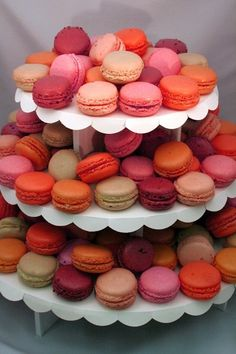 Colorful Wedding or party theme French Macarons on a tower table display Macaroon Tower, Macaroon Cake, Cupcake Tree, Diy Cupcake, Cupcake Party, French Macaroons, Love Cupcakes, Chocolates, Love Food
