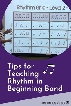Teaching rhythm to your beginning band students- do you have a game plan? We have found that having specific, daily rhythm drills have resulted in students who sight-read well and play their instruments with confidence. This article has some great suggestions for band directors on how to set up your own rhythm plan for your beginning band program. Some of the suggestions mentioned are creating rhythm grids, slideshows, rhythm flashcards and more! Music Sub Plans, Music Lesson Plans, Music Lessons, Teaching Orchestra, Piano Teaching, Music Theory Games, Rhythm Games, Music Classroom, Music Teachers