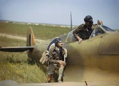 Supermarine Spitfire pilots of No. 40 Squadron, South African Air Force, at Gabes in Tunisia, April 1943.