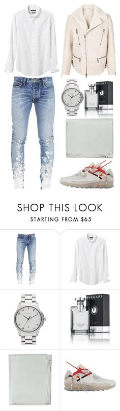 """Untitled #4115"" by fashionhypedaily ❤ liked on Polyvore featuring Banana Republic, Gucci, Bulgari, Maison Margiela, NIKE, Neil Barrett, men's fashion and menswear"