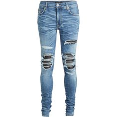 Amiri Distressed Jeans ($1,079) ❤ liked on Polyvore featuring men's fashion, men's clothing, men's jeans, pants, blue, mens blue jeans, mens torn jeans, mens slim fit jeans, mens ripped jeans and mens destroyed jeans
