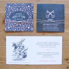 Ruban Collectif alice in wonderland wedding invitation.