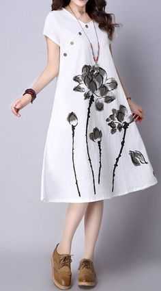 New Women loose fit ethnic lotus flower dress tunic fashion trendy chic sweet, New Girls unfastened match ethnic lotus flower gown tunic vogue fashionable stylish candy New Girls unfastened match ethnic lotus flower gown tunic vo. Trendy Dresses, Simple Dresses, Trendy Outfits, Casual Dresses, Fashion Dresses, Summer Dresses, Ethnic Fashion, Trendy Fashion, Womens Fashion