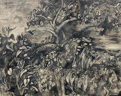 John Minton (British, Moonlit tree and undergrowth x cm. Landscape Art, Landscape Paintings, Flower Paintings, Landscapes, John Minton, New Artists, British Artists, Collage Illustration, Illustrations