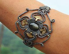 Golden Obsidian Macrame bracelet, Black shine gemstone Bangle, Macrame jewelry, Bohemian Armband jewelry, Tribal gypsy, Grey armlet