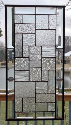 Beveled clear glass transom stained glass window panel by SGHovel