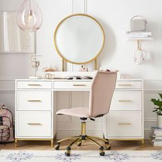 The Blaire Collection's simple yet sleek design elevates the look of any space. This set includes our 7-drawer storage desk and vanity mirror hutch. The desk has gilded details and a multi-step hand finish for a polished, refined look. Plus, the hutch features a glamorous gold framed mirror and storage cubbies for all your beauty essentials.  Pottery Barn Teen Blaire Smart Storage Desk & Vanity Mirror Set Cubby Storage, Smart Storage, Storage Drawers, Under Desk Storage, Modular Storage, Teen Desk, Teen Bedroom Desk, Girls Bedroom, Pottery Barn Teen