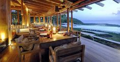 Impressive Villa Design Ideas with Beautiful Scenery View: Awesome Of Dining Room Out Side In Opium Mustique Cove House Which Has Tables Cof...