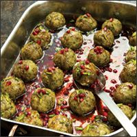 Pistachio and Pomegranate Meatballs  (Kufteh-ye pesteh-o anar). Full recipe available on the site.