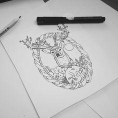 """ #tattoo #sketch #deer #flovers #painting #graphics #plotline #skull #black…"