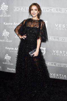 Jessica Alba in a black ruffled Valentino gown