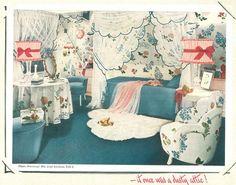 Teenage girl bedroom in a converted attic. We were innovators!  Armstrong retro/vintage flooring ads. Vintage Bedroom Decor, Vintage Interiors, Vintage Bedrooms, Vintage Decor, Retro Vintage, Teenage Girl Bedrooms, Girls Bedroom, Retro Room, Retro Renovation