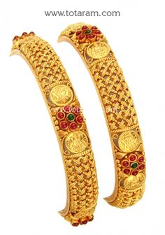 22 Karat Fine Gold 'Lakshmi' Bangles - Set of 2 Pair)(Temple Jewellery) Gross Gold Weight : grams Width : mm Shipping time : 5 - 7 days SI Gold Bangles For Women, Gold Bangles Design, Gold Temple Jewellery, Gold Jewelry, Diamond Jewelry, Gold Mangalsutra Designs, Bangle Set, Fashion Jewelry, Bengal