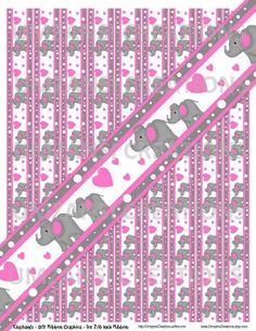 DIY Elephants Pink Printable 7/8 Ribbon Iron On by MaddieZee, $1.25