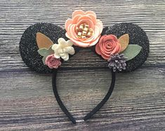 Ready To Ship // Pink and Gold Floral Ears Headband // Floral crown, Flower Ears, Floral Felt headband, Ears headband