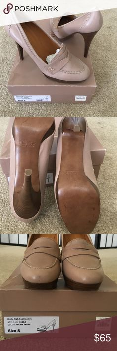 J Crew Biella taupe, high-heel loafers  This is a beautiful pair of warm taupe high-heel loafers. Made in Italy. NWT with the box. Size 8M and made of soft leather  J. Crew Shoes Heels