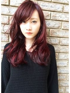 red hair; asian; japanese | エイチ ヘアーデザイン H hair design RED×グラデーション
