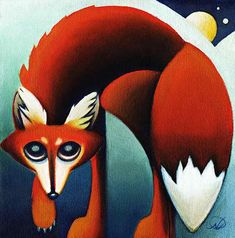 Red Fox Unlimited edition print by Nathalie Parenteau. There is a humorous side to Nathalie's art which leads to her whimsical images. Nathalie currently resides in Whitehourse, Yukon. Canadian Wildlife, Summer Painting, Indigenous Art, Woodland Creatures, Canadian Artists, Illustration Sketches, Native Art, Beautiful Artwork, Rock Art