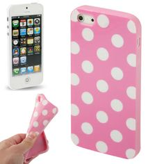 iPhone 5 soft case / hoesje, roze met witte stippen (dots / pink). Iphone Se, Apple Iphone, Best Iphone, Pink Iphone, Cool Iphone Cases, 5s Cases, Funda Tpu, Protective Cases, Cover
