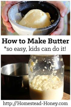 Making homemade butter is a delicious way to get kids in the kitchen. This step by step tutorial will show you how to make butter with just a mason jar! | Homestead Honey