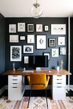 Home Office Inspiration/ Goals- Organization tips- Interior Design- small space design home office with black walls Guest Room Office, Home Office Space, Home Office Design, Home Office Decor, House Design, Office Designs, Small Office Spaces, Work Spaces, Office Style