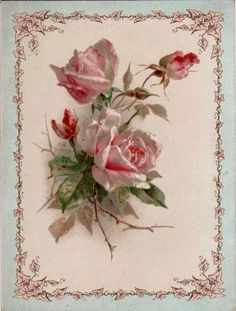 Vintage Pink Rose Bouquet Graphic Image Art Fabric Block Doodaba