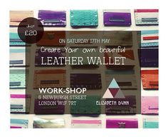 Hey, I'm running a mini wallet making workshop at my pop up store today, the shop is just off Carnaby street, 6 Newburgh street W1F 7RT, come along & say hi. It's drop in anytime between 12-6pm 30 minuet sessions. More info on my FB page. Would be great to see you.