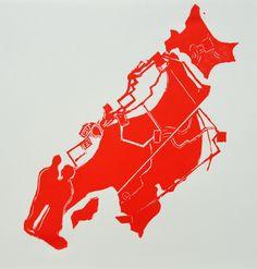 """""""J'avais 25 ans..."""" - Linogravure réalisée par Aimée Yamamoto. Format 25 x 25 cm."""