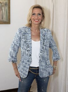 Our London Houndstooth Blazer And Camel Hooded Poncho Simple Outfits, Stylish Outfits, Striped Jacket, Stripe Blazer, Boucle Jacket, Inspiration Mode, Over 50 Womens Fashion, Fabric Covered Button, Blazer Fashion