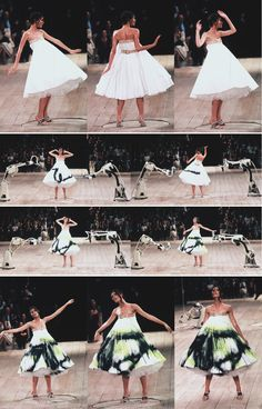 This is so genius!  Can you imagine doing this at a celebrity auction!  How much people would bid while  watching a piece of art being made in front of them. How happy would your charity be then!  Shalom Harlow at Alexander McQueen s/s 1999
