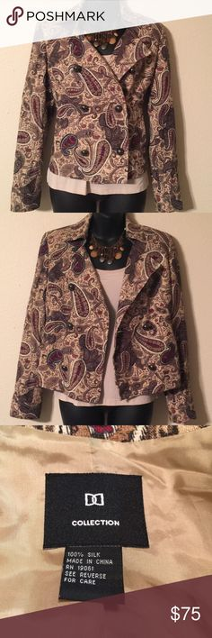 Doncaster DD Collection Silk Jacket Lined, Double Breasted, Paisley Print, Silk, Doncaster DD Collection Jacket. Excellent condition like new! Doncaster DD Collection Jackets & Coats Blazers