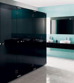 Aqueous Glass Toilet Cubicles | Black Toilet Cubicles