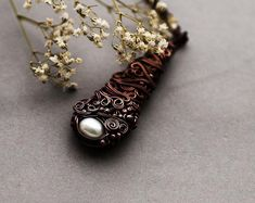 Pearl Necklace, Elvish Copper Jewelry, Single Pearl Drop Pendant, Elvish Boho Pearl Necklace
