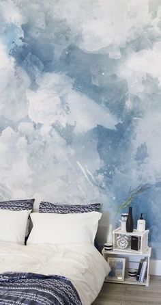 Blue White Grunge Paint Watercolor Mural After Something A Bit Different For Your Walls This Blue Watercolor Wall Mural Is Perfect For Creating A Calming Atmosphere In Bedroom Spaces Looking Stylish At The Same Time