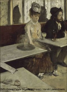Edgar Degas (1834-1917).    In a Café, also called Absinthe,  1873,  Oil on canvas,  H. 92; W. 68.5 m,  Paris, Musée d'Orsay.