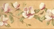 Wallpaper Border Magnolia Floral Trail on Tuscan Gold Background