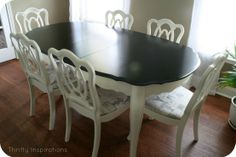 DIY French Country Decor: French Dining Set Makeover using Annie Sloan Chalk Paint in 'Old White' and stained in a rich espresso. Also a link to a chair reupholstering tutorial - by Thrifty Inspirations