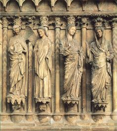Annunciation and Visitation, west portal, Cathedral of Notre-Dame, Reims, France