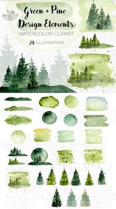 Invitation Design & Graphics Hand painted watercolor pine tree clip art for all your graphic design Watercolor Logo, Watercolor Trees, Green Watercolor, Watercolor Background, Watercolor Landscape, Watercolor Images, Watercolor Paintings For Beginners, Watercolor Techniques, Tree Clipart