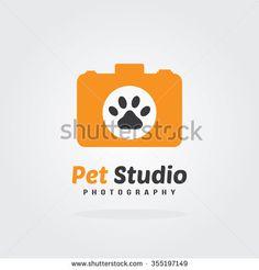 Camera Icon, pet photography concept, logo design. Vector for pet shop or hotel. - stock vector