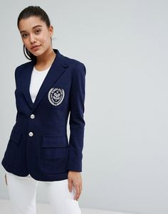 Buy it now. Polo Ralph Lauren Blazer with Patch Pocket Detail - Navy. Blazer by Polo Ralph Lauren, Designed in collaboration with The Championships, Wimbledon, Cotton-rich woven fabric, Fully lined, Padded shoulders, Notch lapel, Official Wimbledon embroidery, Two button closure, Regular fit - true to size, Machine wash, 58% Cotton, 42% Viscose, Our model wears a UK S/EU S/US XS and is 175cm/5'9 tall. After naming his brand after a game that�s known for its classic style, Ralph Lauren has…