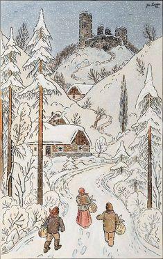 Christmas Rock, Xmas, Winter's Tale, Vintage Ski, Children's Book Illustration, Naive, Folk Art, Watercolor Paintings, Vintage World Maps