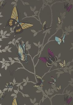 Seraphina #wallpaper in #charcoal from the Seraphina collection. #Thibaut