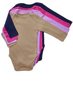 Leveret Long Sleeve 4-pack Solid Baby Girls Bodysuit 100%...