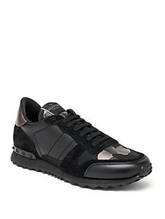 Valentino Rockrunner Camo Studded Sneakers